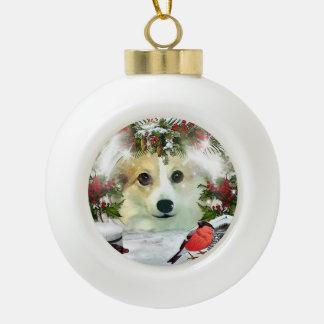 Holiday Pembroke Welsh Corgi Ceramic Ball Ornament