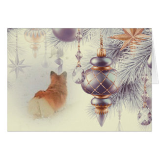 Holiday Pembroke Welsh Corgi in the Snow Card