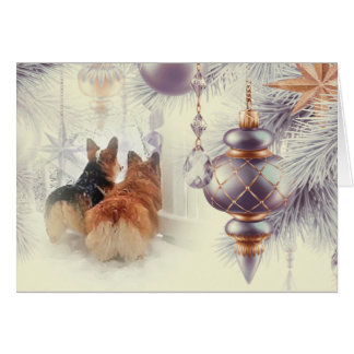 Holiday Pembroke Welsh Corgis in the Snow Card