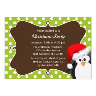 Holiday Penguin Christmas Party Invitations