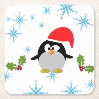 Holiday Penguin Custom Square Coasters