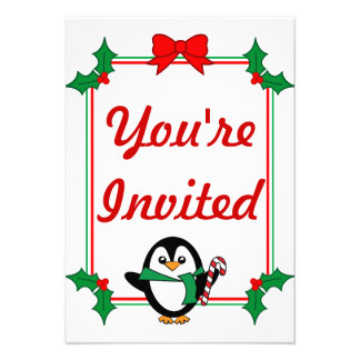 Holiday Penguin Party Invites