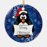 Holiday Penguin Round Ceramic Ornament
