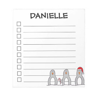 """""""Holiday Penguins"""" Personalized Notepad"""