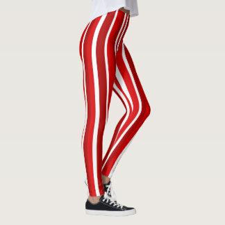 Holiday peppermint stripes leggings