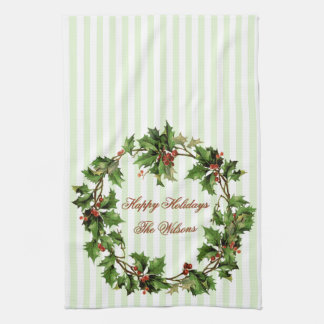Holiday Personalized Vintage Holly Wreath Kitchen Towel