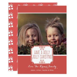 Holiday Photo Card | Holly Jolly Christmas - Red