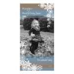 Holiday Photo Card: Let It Snow! Beige Blue Photo Card Template