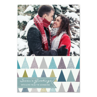 Holiday photo card seasons greetings blue white