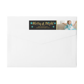 Holiday Photo Merry and Bright Faux Gold Foil Wrap Around Label