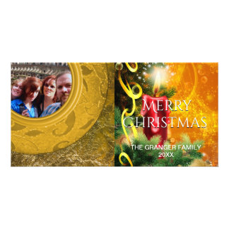 Holiday Photo Red Gold Christmas Candle Photo Card