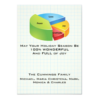 "Holiday Pie Chart Christmas Card 4.5"" X 6.25"" Invitation Card"