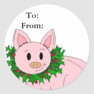 Holiday Piggy Gifttag Classic Round Sticker