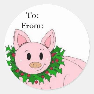 Holiday Piggy Gifttag Round Sticker