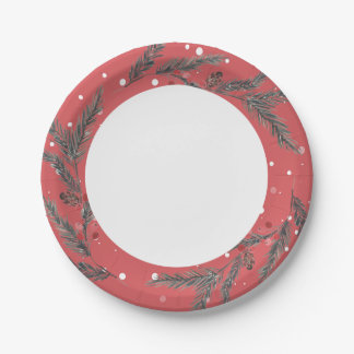 Holiday Pine Border Paper Plate