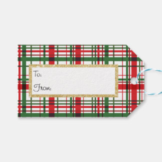 Holiday Plaid Stripe Gift Tag