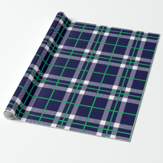 Holiday Plaid Wrapping Paper Navy