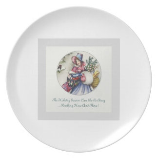 Holiday Plate Vintage Lady Design