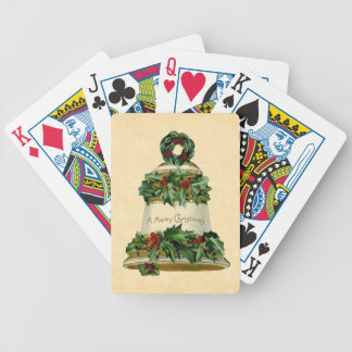 Holiday Playing Cards Vintage Merry Christmas Bell