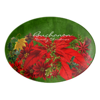 Holiday Poinsettia Bouquet and Green Porcelain Serving Platter