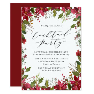 Holiday Poinsettia | Cocktail Party Invitation