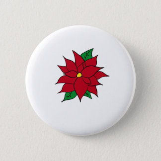 HOLIDAY POINSETTIA / FLOWER, CHRISTMAS 2 INCH ROUND BUTTON