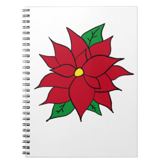 HOLIDAY POINSETTIA / FLOWER, CHRISTMAS SPIRAL NOTEBOOK