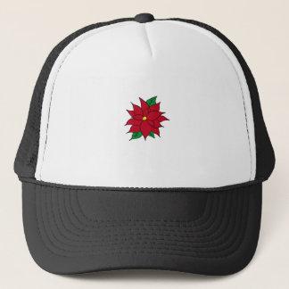 HOLIDAY POINSETTIA / FLOWER, CHRISTMAS TRUCKER HAT