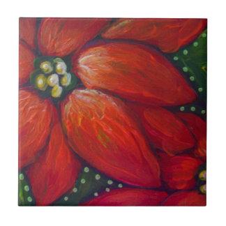 HOLIDAY POINSETTIA FLOWERS CERAMIC TILE