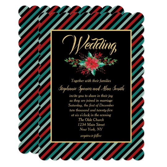 Holiday Poinsettia Stripes Bold Red Green Wedding Card