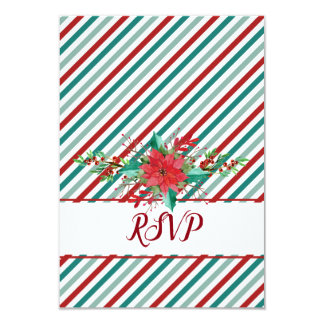 Holiday Poinsettia Stripes Red Green RSVP Card