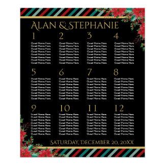 Holiday Poinsettia Stripes Red Green Seating Chart