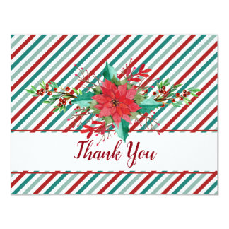 Holiday Poinsettia Stripes Red Green Wedding Card