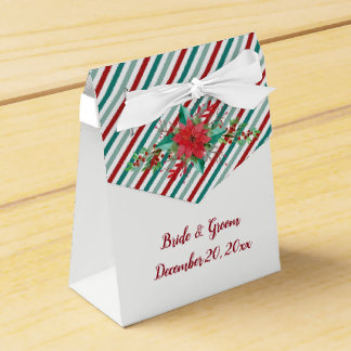 Holiday Poinsettia Stripes Red Green Wedding Favor Box
