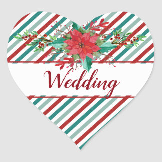 Holiday Poinsettia Stripes Red Green Wedding Heart Sticker