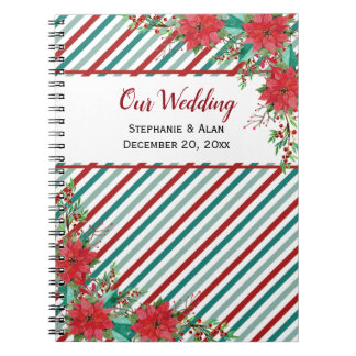 Holiday Poinsettia Stripes Wedding Notebook
