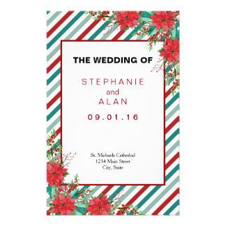 Holiday Poinsettia Stripes Wedding Programs