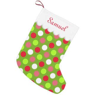Holiday Polka Dots Personalized Small Christmas Stocking