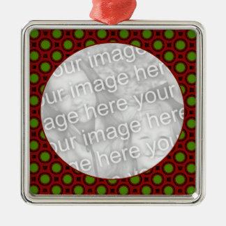 holiday polka dots Silver-Colored square ornament