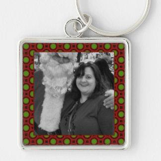 Holiday polka dots square photo frame keychain