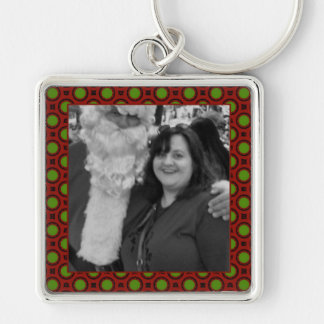 Holiday polka dots square photo frame Silver-Colored square keychain