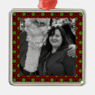 Holiday polka dots square photo frame Silver-Colored square ornament