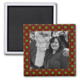 Holiday polka dots square photo frame square magnet