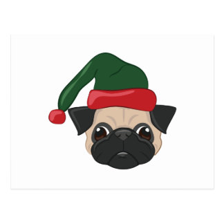 Holiday Pug Postcard