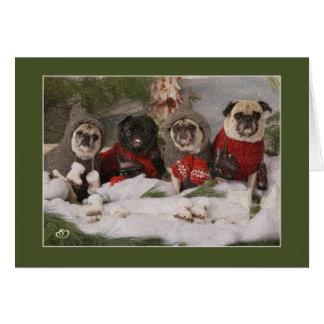 Holiday Pug Skating Party Card