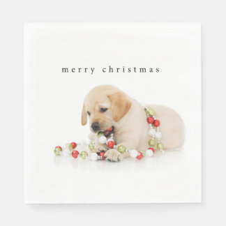 Holiday Puppy Playtime Merry Christmas Paper Napkin