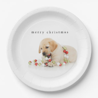Holiday Puppy Playtime Merry Christmas Paper Plate