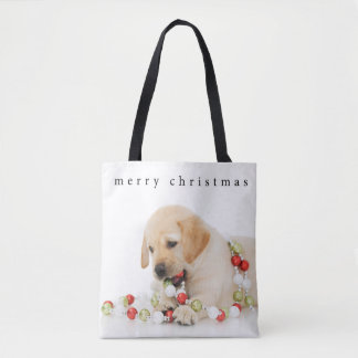 Holiday Puppy Playtime Merry Christmas Tote Bag