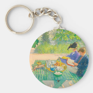 Holiday Reading by Carl Larsson Basic Round Button Keychain