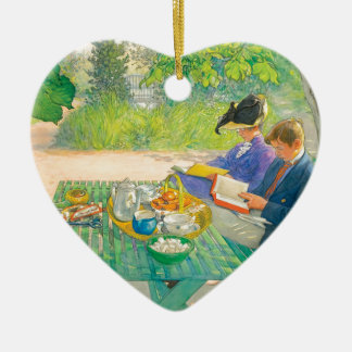 Holiday Reading by Carl Larsson Ceramic Heart Ornament